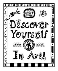Illustration with lettering Discover Yourself in Art/Original Handwritten illustration with slogan Discover Yourself in Art and tribal border w animals. For T shirt design, poster and prints