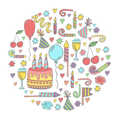 Birthday vector funny colorful doodles collection