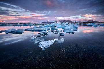 Iceland, Jokulsarlon lagoon, Beautiful cold landscape picture of icelandic glacier lagoon bay,