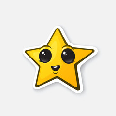 Vector illustration. Funny gold star with happy eyes. Winner sign. Favorite symbol. Cartoon sticker with contour. Decoration for greeting cards, posters, patches, prints for clothes, emblems