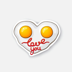 Vector illustration. Fried eggs in heart shape. Scrambled egg. Healthy food. Cartoon sticker in comic style with contour. Decoration for greeting cards, posters, patches, prints for clothes, emblems