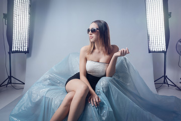 Fashion model doing a photo shoot