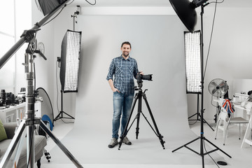Professional photographer posing in the studio