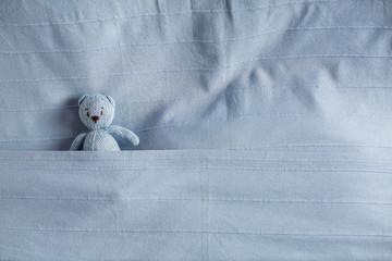 blue teddy bear lying in bed