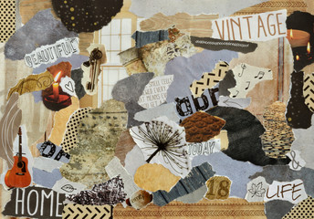 Creative Atmosphere art mood board collage sheet in color idea brown, wood,yellow and grey white made of teared magazines and printed matter paper with wood and nature textures