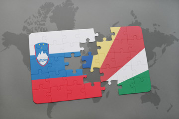 puzzle with the national flag of slovenia and seychelles on a world map