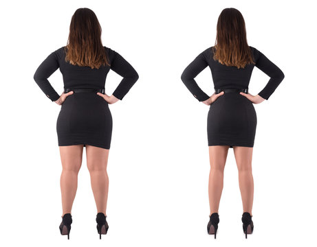 Woman's body before and after weightloss on white background
