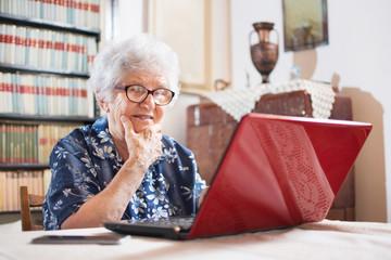 Surprised senior woman looking at laptop.
