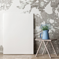 Poster on painted wall, blue flowers, 3d illustration