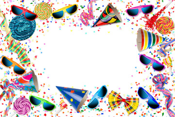 colorful party carnival birthday confetti background pattern with streamer sunglasses hat lolly pop isolated / Kindergeburtstag Fastnacht Fasching  Hintergrund mit Konfetti isoliert