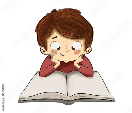 Niño Leyendo Un Libro En La Mesa Estudiando O Leyendo Un Cuento