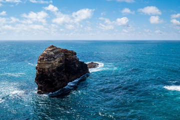 Portugal - Big dark rock in Atlantic ocean