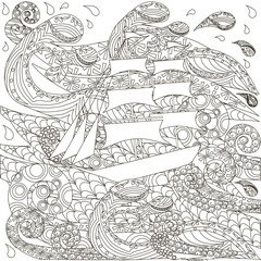 Hand drawn ship on zentangle waves, vector illustration
