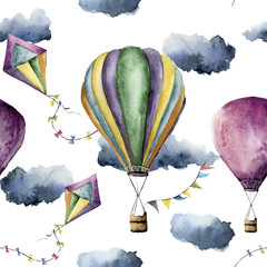 Watercolor pattern with hot air balloon and kite. Hand drawn vintage kite, air balloons with flags garlands, clouds and retro design. Illustrations isolated on white background