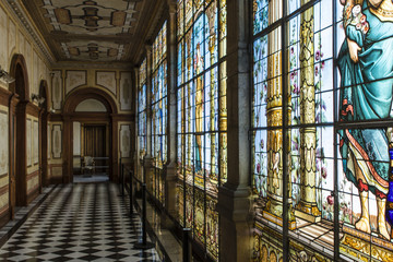 Stained glass windows inside the Castle of Chapultepec in Mexico City - Mexico