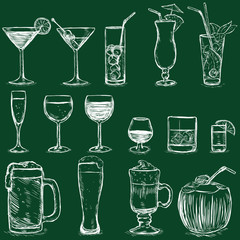 Vector Set of Chalk Cocktails and Alcohol Drinks