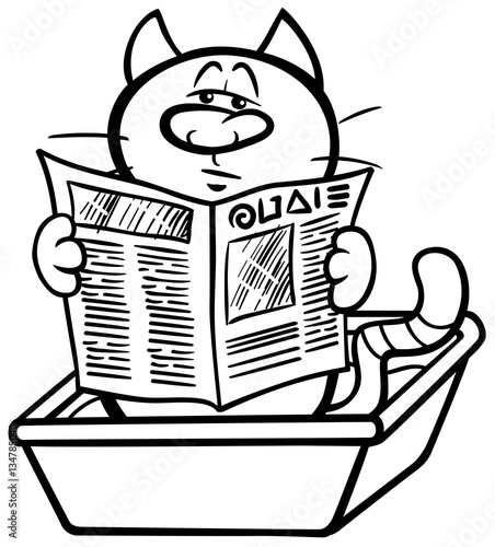 Cat In Litter Box Coloring Page Stock Image And Royalty Free Vector