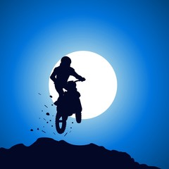 Motorcycle rider jumps from the top, silhouette