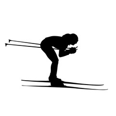 Cross-country skiing downhill, woman or girl vector silhouette.