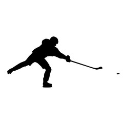 Shooting ice hockey player vector silhouette