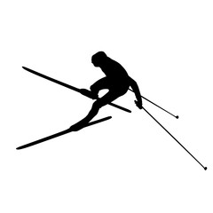 Cross-country skiing, unusual aerial view. Vector silhouette