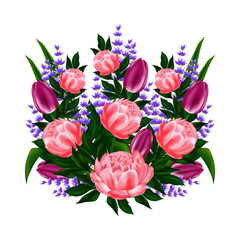 Bouquet of roses, peonies, lavender and green for the print or pattern on the fabric