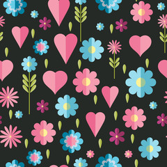 Cute flat background, vector pattern with flowers. Seamless vector floral pattern for cushion, pillow, bandanna, silk kerchief or shawl fabric print. Texture for clothes, bedclothes