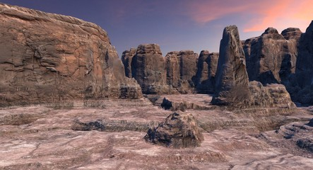Rocky Canyon At Sunset or Sunrise 3d Rendering
