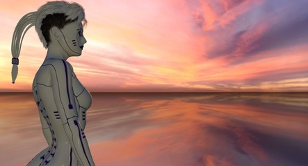 Android Female Robot Overlooking Sunset Skyline 3d Rendering