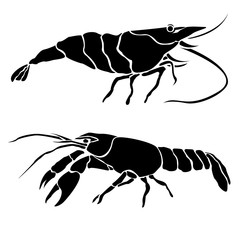 Isolated silhouettes of crayfish and shrimp.