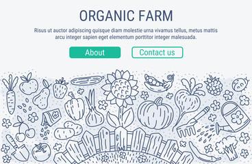 Farm market line art vector  Illustration. Website banner.