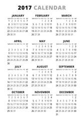 2017 Calendar On White Background. Week Starts Sunday
