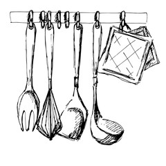 Kitchen utensils.Vector illustration in a sketch style.