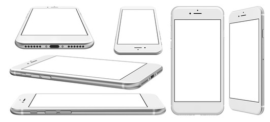 Smartphone with blank screen and isolated on the white background, high resolution, detailed image.