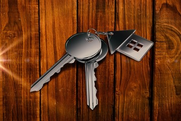 Composite image of metal key with ring