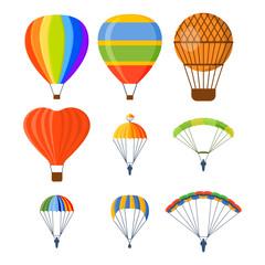 Ballon aerostat transport vector set.