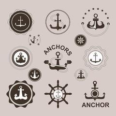 Anchor nautical symbols vector badges.