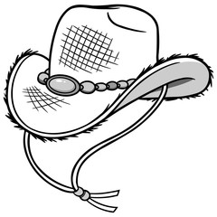 Cowboy Straw Hat Illustration