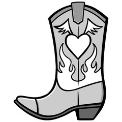 Cowgirl Boot Illustration