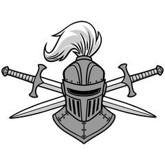 Knight Helmet and Crossed Swords Illustration