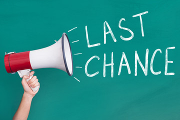 Megaphone with Last Chance Announcement