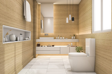 3d rendering spacious and beautiful toilet with white wood design