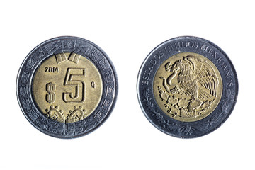 five peso mexican coin