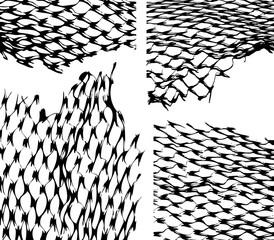 Torn fishnet texture overlay. Fishnet texture vector illustration.