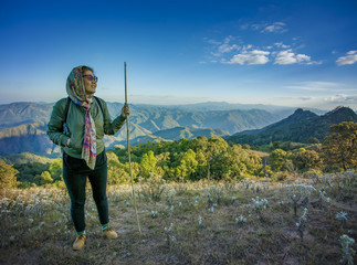 traveling woman trekking on high mountain for people vacation li