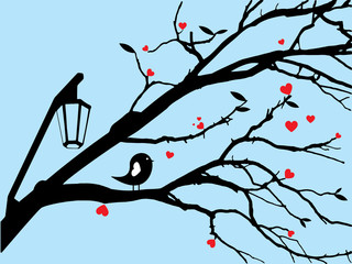 Silhouette Little bird stand on tree branch with red heart leaf for wallpaper or valentine card.