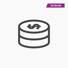 Dollar money icon isolated sign symbol. Flat Vector illustration. Can be used for mobile and web design