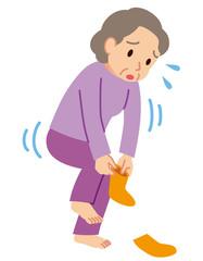 ロコモ 靴下を履く 高齢者
