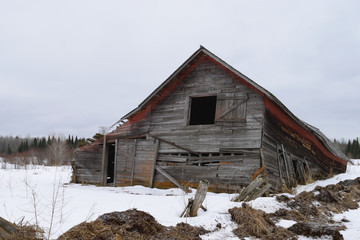 Collapsed Barn in Winter