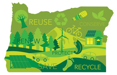 State of Oregon Map Environment Eco Outline Illustration